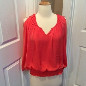 Kenar coral smocked waist blouse Sz S
